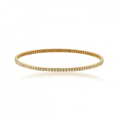 Rose Gold Bangle with round brilliant cut diamonds made in 18k Gold