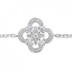 Clover Diamond Bracelet made in 18k White Gold (0.23cts)