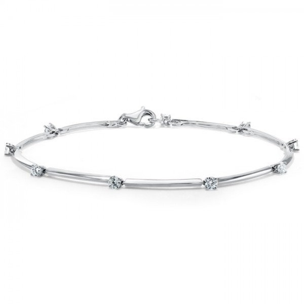 Diamond Link Bracelet made in 18k White Gold (0.61cts)
