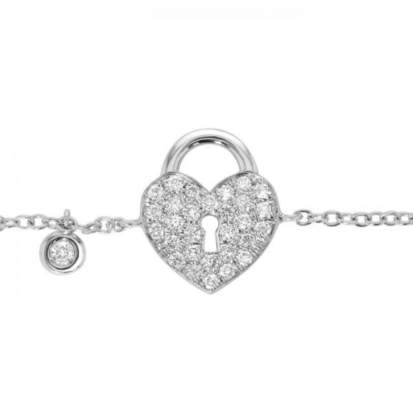 Heart Lock Diamond Bracelet made in 18k White Gold (0.21cts)