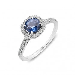 Blue Sapphire and Diamond Ring Made in White Gold (BS-0.8cts)