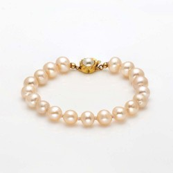 Shell Peach Pearl Bracelet with Sterling silver Clasp (9-10 mm Pearls)