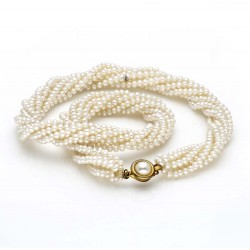 Four Row Rice Pearl Necklace (White Pearls)