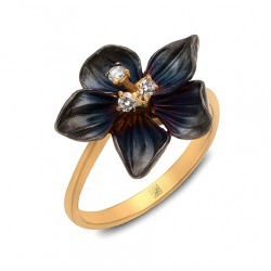 Diamond And Enamel Ring made in 14k Yellow Gold (0.06cts)
