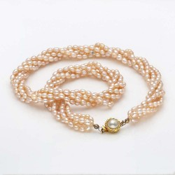 Four Row Rice Pearl Necklace (Peach Pearls)