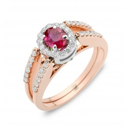 Ruby and Emerald Classic Reversible Ring (Ruby/Emerald-0.45cts)