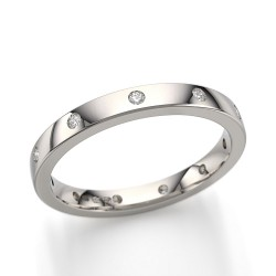 Gold 2.5mm 11 Stone Diamond Set Wedding Ring 14k