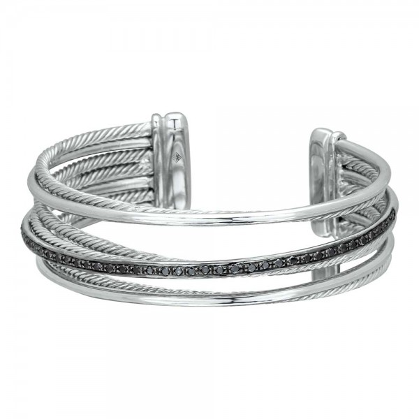 Twisted Bangle-7 lines with Black Diamonds made in Sterling Silver (0.83 cts)