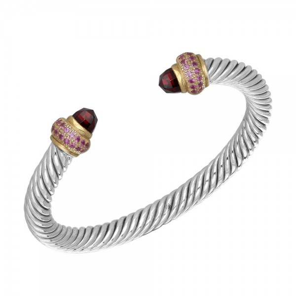 Twisted Bangle with Round Garnets and Bullets made in Sterling Silver (4.32 cts)