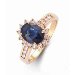 Blue Sapphire and Diamond Ring Made in 18k Yellow Gold (BS - 2.06cts)