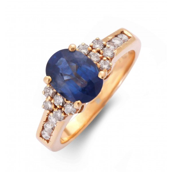 Blue Sapphire and Diamond Ring made in 18k Yellow Gold (1.75 cts)