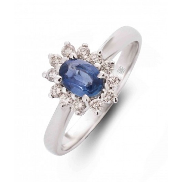 Blue Sapphire and Diamond Ring made in 14k White Gold (BS - 0.6cts)
