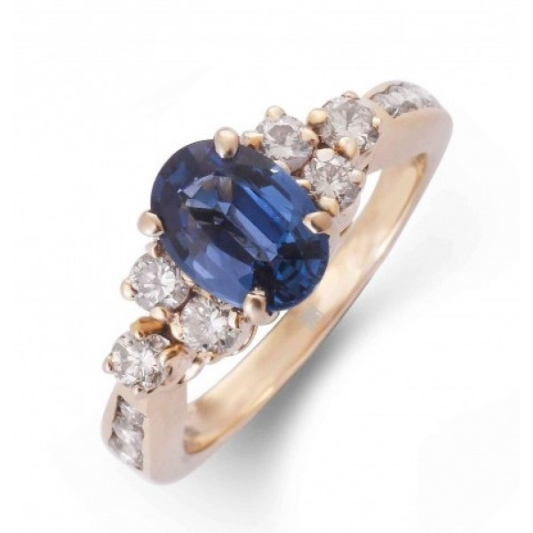 Blue Sapphire and Diamond Ring made in 18k Yellow Gold (BS - 0.93 cts)