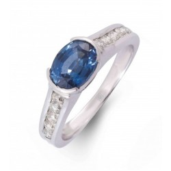 Blue Sapphire and Diamond Ring made in 18k White Gold (BS - 1.33 cts)
