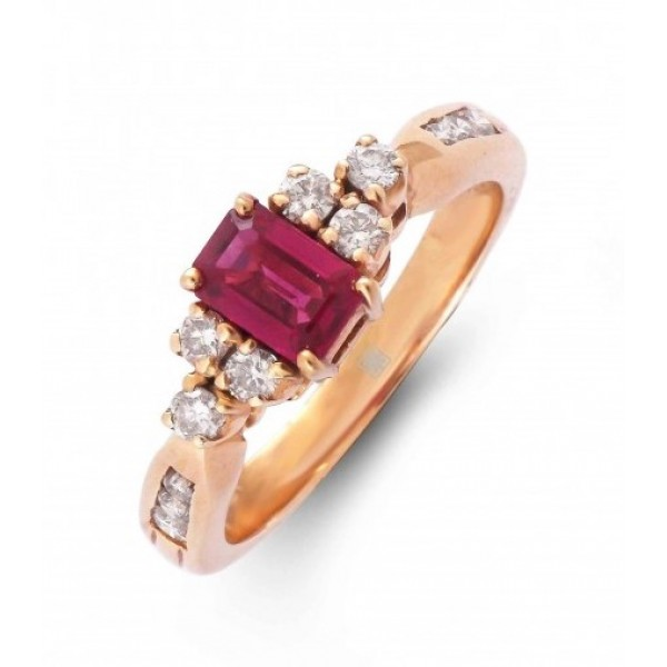 Ruby and Diamond Ring Made in 18k Yellow Gold (Ruby - 0.4cts)