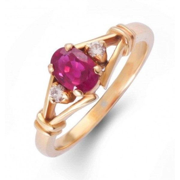 Ruby and Diamond Ring Made in 18k Yellow Gold (0.7 cts)