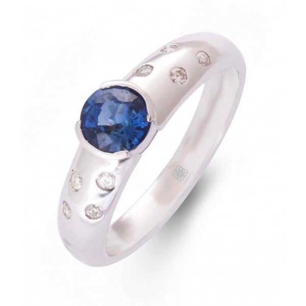 Blue Sapphire and Diamond Ring made in 14k White Gold (BS - 0.71cts)