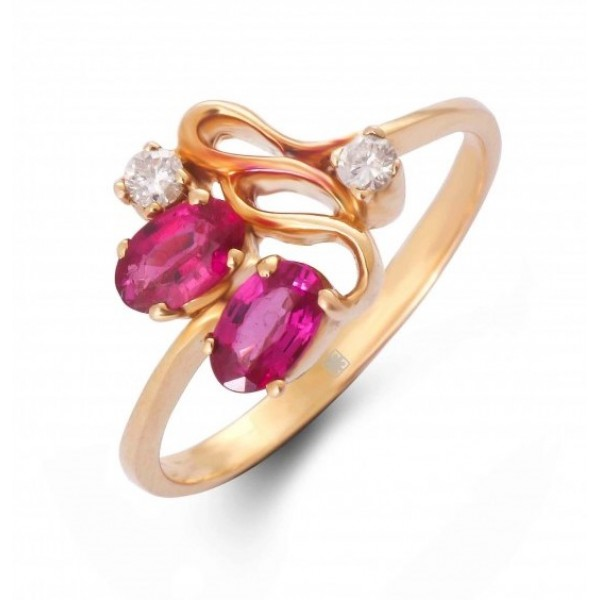 Ruby and Diamond Ring Made in 18k Yellow Gold (Ruby - 0.63 cts)