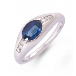 Blue Sapphire and Diamond Ring made in 18k White Gold (BS - 1.16 cts)