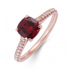 Garnet and Diamond Ring made in 18k Rose Gold (Garnet - 1ct)