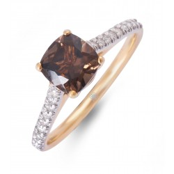 Smoky and Diamond Ring made in 18k Yellow Gold (Smoky - 1ct)