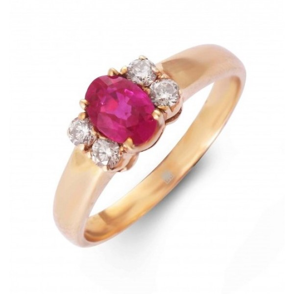 Ruby and Diamond Ring Created in 18k Yellow Gold (Ruby - 0.7cts)