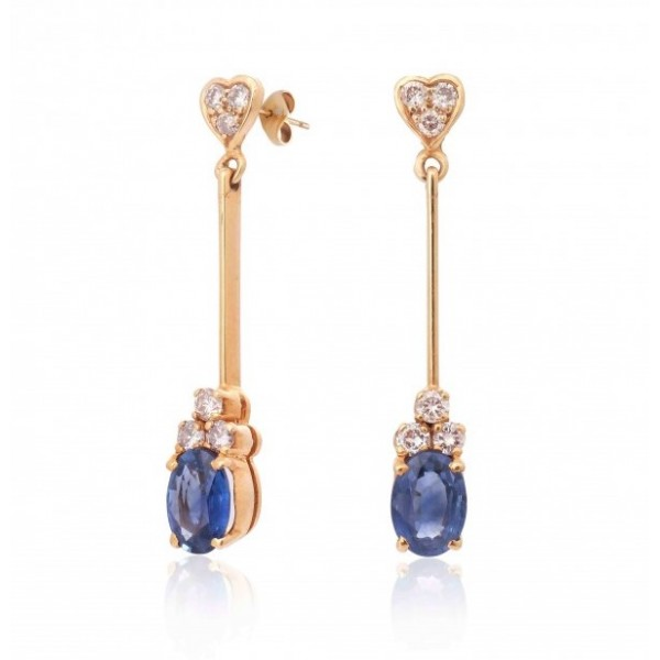 Blue Sapphire and Diamond Earring made in 18k Yellow Gold (BS - 1.5cts)