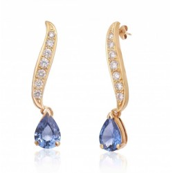 Blue Sapphire and Diamond Earring made in 14k Yellow Gold (BS - 2.59cts)