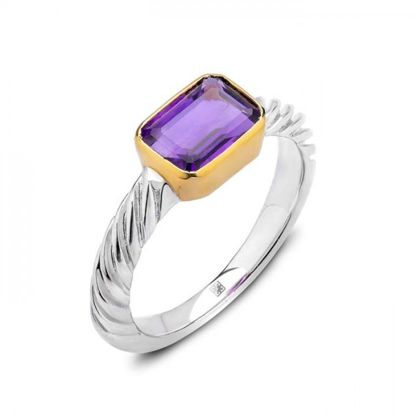 Amethyst Ring made in Sterling Silver (Am-1.5cts)