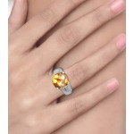 Citrine and Diamond Ring made in Sterling Silver (Citrine - 11cts)