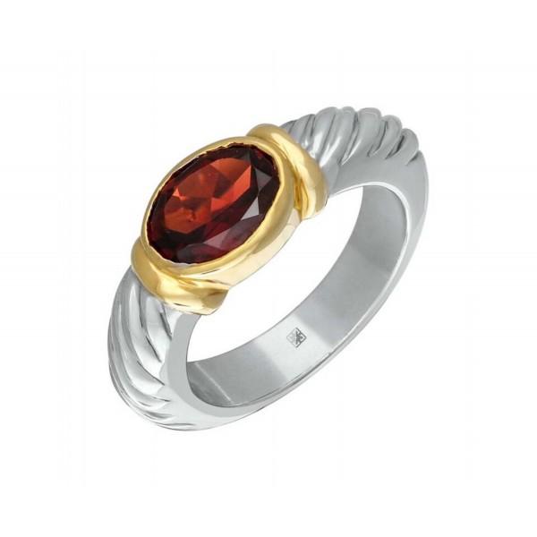 Garnet Ring made in Sterling Silver (Garnet - 2cts)