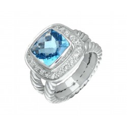 Blue Topaz and Diamond Ring made in Sterling Silver (BT - 7.5cts)