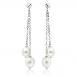 Freshwater Pearl Dangler Earrings Made In 14K White Gold