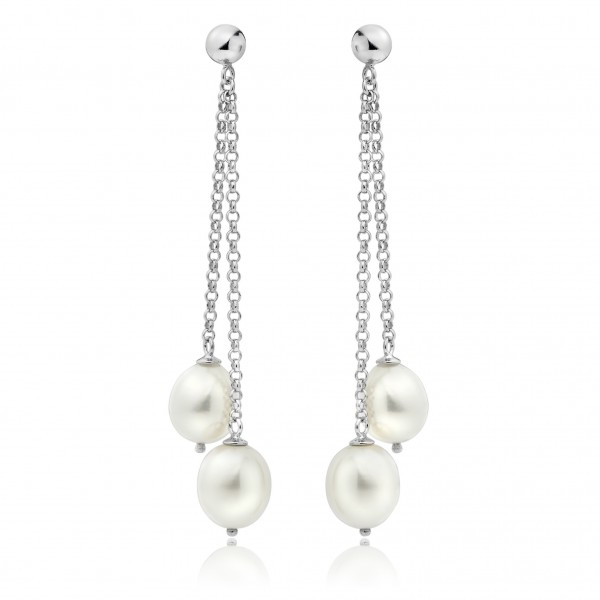Freshwater Pearl Dangler Earrings Made In 14K White Gold