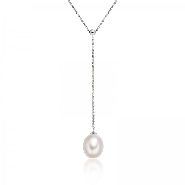 Freshwater Pearl Necklace Handcrafted In 14K White Gold