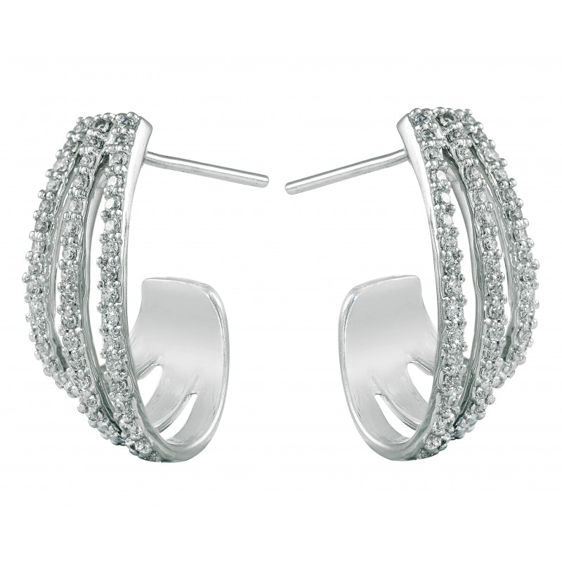 Diamond Hoop Earrings G Set With 100 Round Cut Diamonds In 14k White Gold 0 732 Ct