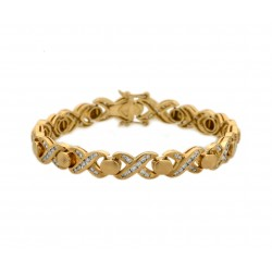 Hugs and Kisses Diamond and Gold Bracelet XOXO (2.52 cts)