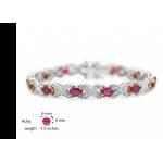 Burmese Ruby and Diamond Hugs and Kisses Bracelet XOXO (Ruby-7.44 cts)