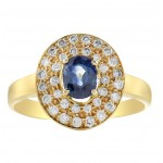 Blue Sapphire and Diamond double halo ring made in 14k Yellow Gold (BS-0.95cts)