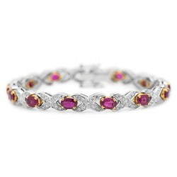 Burmese Ruby and Diamond Hugs and Kisses Bracelet XOXO (Ruby-7.44 cts)