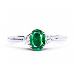 Emerald and Diamond ring made in 14k White Gold (0.85 ct Em)