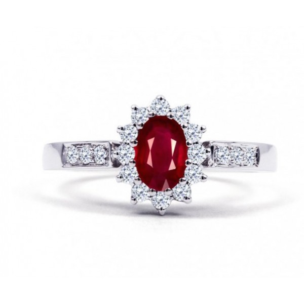 Burmese Ruby And Diamond Ring Set in White Gold ( 0.6ct Ruby)