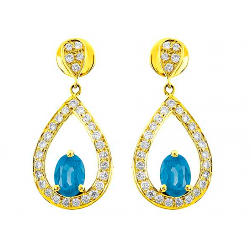 Blue Topaz And Diamond Earrings In 18k Yellow Gold Bt 1 66 Cts