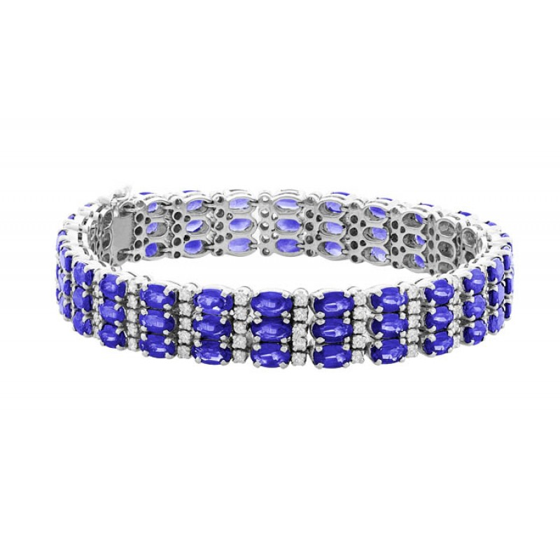 Tanzanite Bracelet Made In 18k White Gold 21 67cts Tz