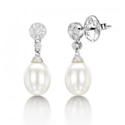 Diamond & Pearl Drop Earring Set in 14k White Gold ( 0.17ct)