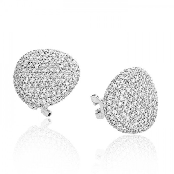 Pave Button Stud Diamond Earring Set in 14k White Gold ( 3.36ct)
