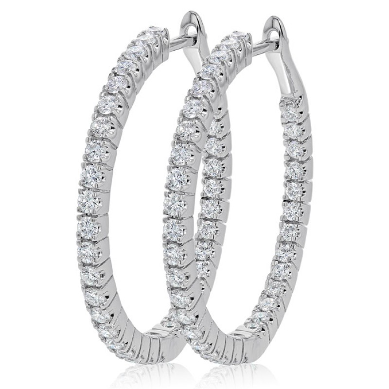 Inside Out Hinged Diamond Hoop Earring Set In 14k White Gold 1 07ct