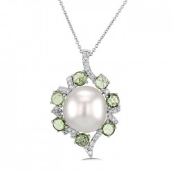 Green Garnet And Diamond Pendant made in 14k White Gold (2cts Green Garnet)