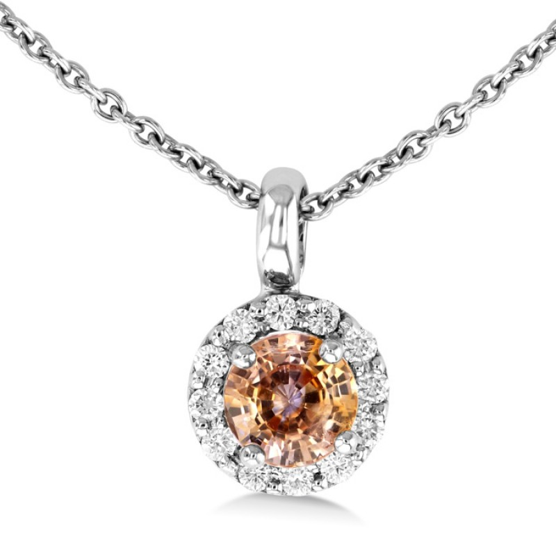 Orange sapphire and diamond pendant made in 14k white gold ct os orange sapphire and diamond pendant made in 14k white gold ct os aloadofball Image collections
