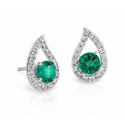 Emerald And Diamond Earring made in 14k White Gold ( 1ct)